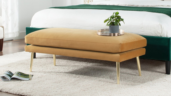 Oliver Entryway Bench, Gold