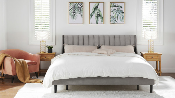 Aspen Upholstered Platform Bed, King, Opal Grey