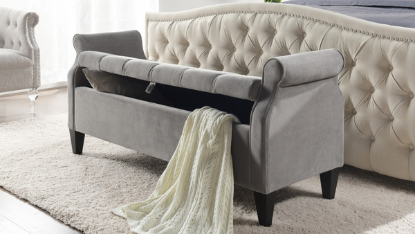 Jacqueline Flip Top Tufted Roll Arm Storage Bench