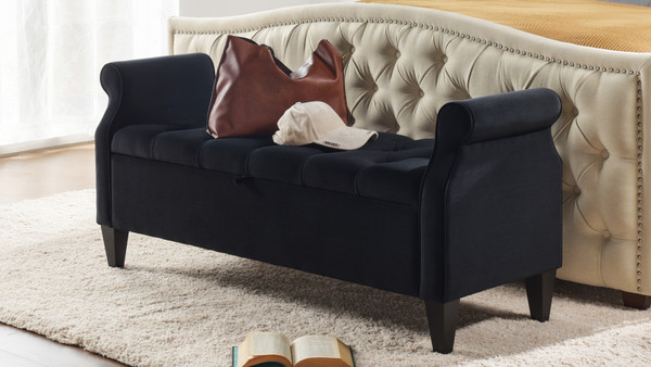 Jacqueline Tufted Roll Arm Storage Bench, Black