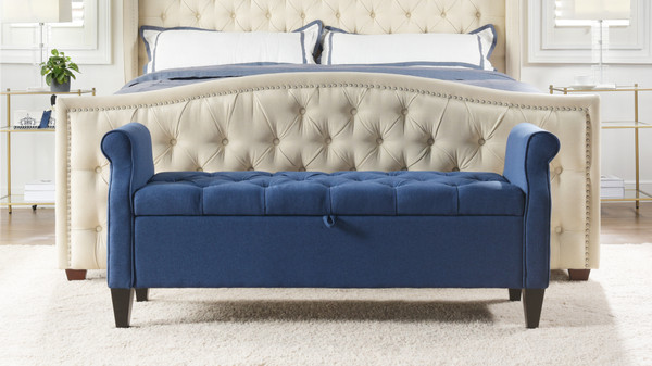 Jacqueline Flip Top Tufted Roll Arm Storage Bench, Dark Sapphire Blue