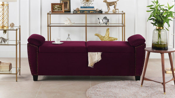 Jolene Storage Bench Nailhead Trim, Burgundy