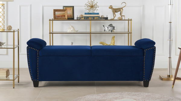 Jolene Storage Bench Nailhead Trim, Navy Blue