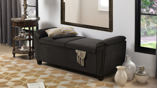 Jolene Storage Bench Nailhead Trim, Dark Charcoal Grey