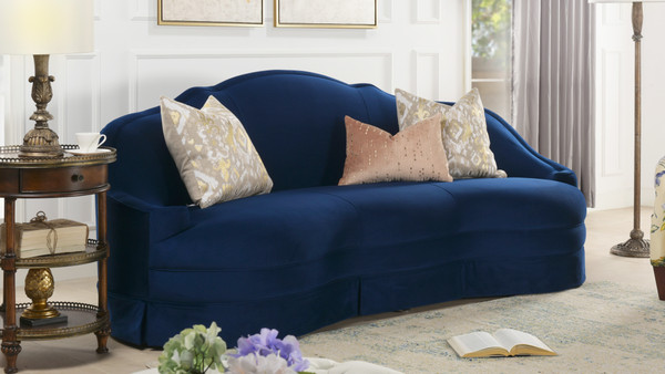 Pianosa Upholstered Camelback Sofa with Skirt, Navy Blue