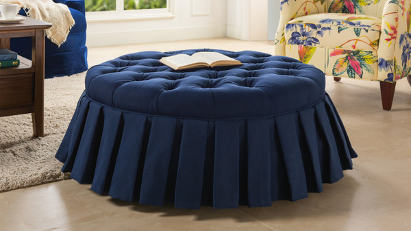 Luciana Tufted Cocktail Ottoman with Skirt, Midnight Blue