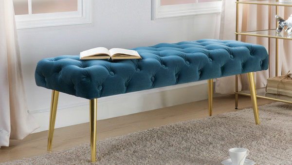 Stevens Mid-Century Modern Tufted Bench, Satin Teal