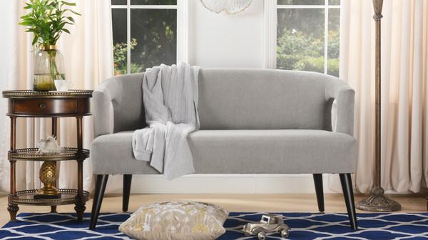 """Malachi 53.5"""" Mid-Century Modern Upholstered Settee"""