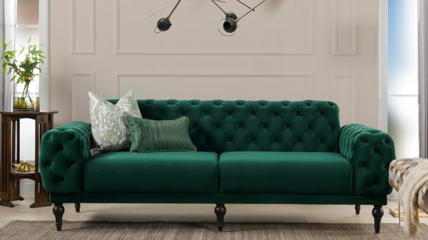 """Tappman 89"""" Modern Button Tufted Velvet Sofa, Evergreen"""