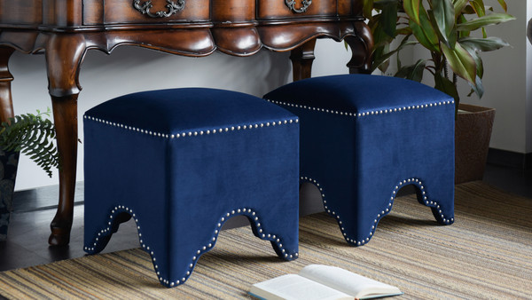 Jordan Art Deco Nailhead Ottoman, Navy Blue