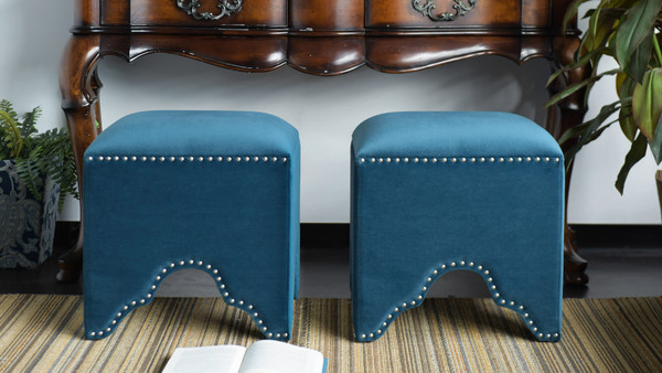 Jordan Art Deco Nailhead Ottoman, Satin Teal