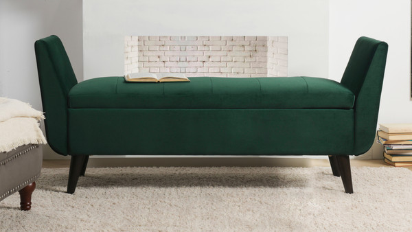Duff Mid-Century Modern Upholstered Entryway Storage Bench, Hunter Green