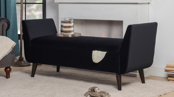 Duff Mid-Century Modern Upholstered Flip Top Storage Bench, Black