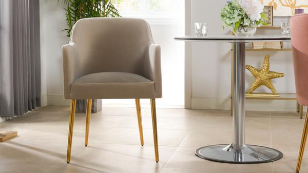 Ivy Mid-Century Modern Accent Desk Chair, Mink Beige