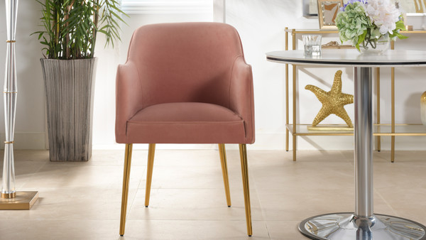 Ivy Mid-Century Modern Accent Desk Chair, Blush Pink