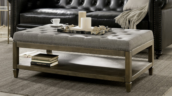 Sylvan Farmhouse Oak Tufted Cocktail Storage Ottoman, Dark Heathered Grey