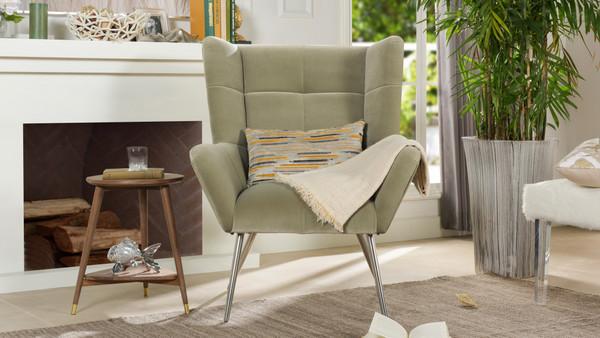 Gerald Mid-Century Modern Tufted Wingback Armchair, Stone Grey