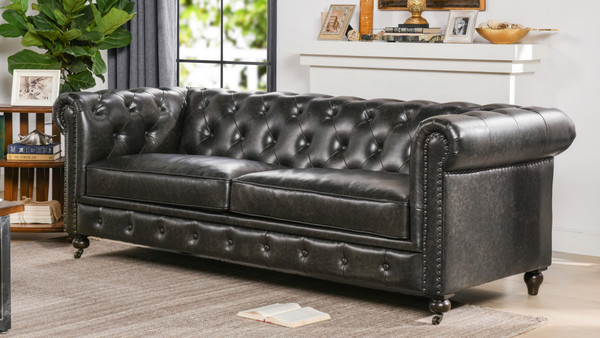 Winston Leather Tufted Chesterfield Sofa, Vintage Black Brown