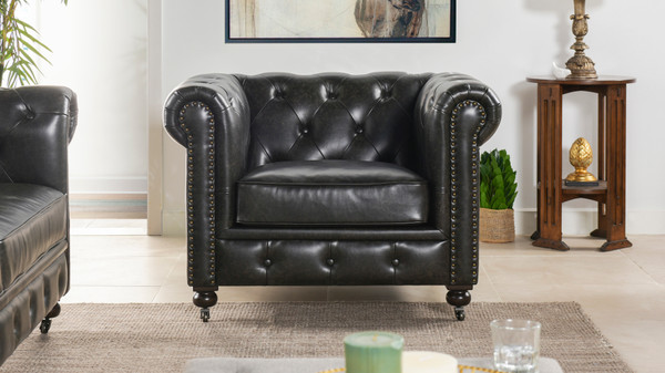 Winston Leather Chesterfield Armchair, Vintage Black Brown