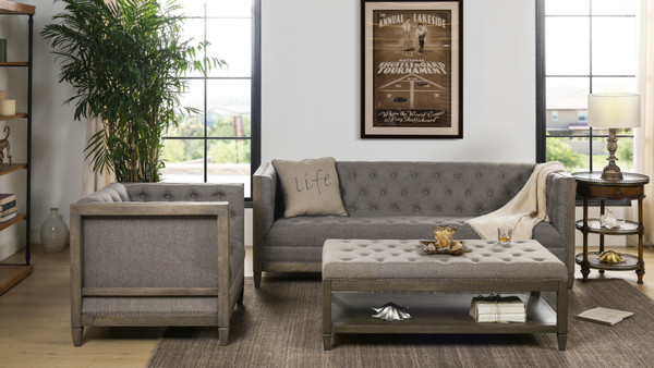 Sylvan Tuxedo Sofa, Wood Base, Dark Heathered Grey