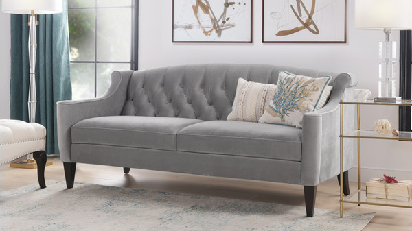 Ken Upholstered Button Tufted Sofa, Opal Grey