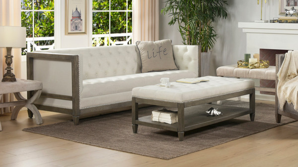 "Sylvan 81"" Tuxedo Sofa, Wood Base, Natural White"