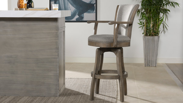 "Williams 31"" Swivel Bar Stool, Dark Heathered Grey"