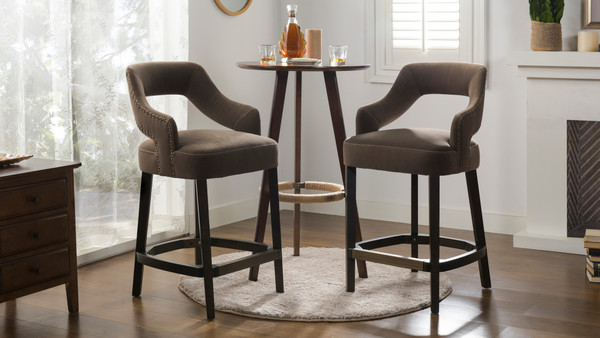"Moderne 26"" Upholstered Bar Stool (Set of 2), Deep Mink Brown"