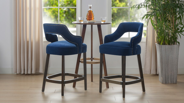 "Moderne 26"" Upholstered Bar Stool (Set of 2), Indigo Blue"