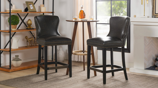 "Sonoma 26"" Upholstered Counter Height Bar Stool (Set of 2), Vintage Black"