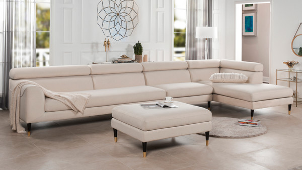 Bartelt RAF Modular Modern Sectional Chaise Sofa, Sky Neutral