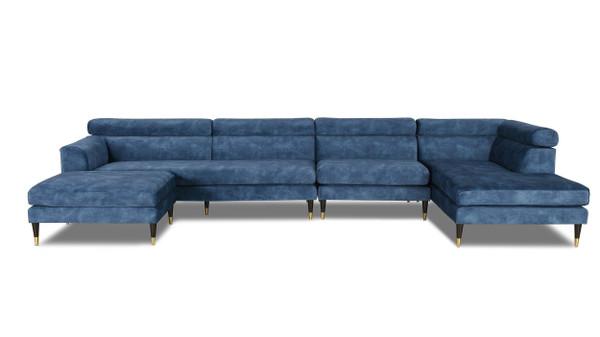 Bartelt RAF Modular Modern Sectional Chaise Sofa, Imperial Blue Performance Velvet
