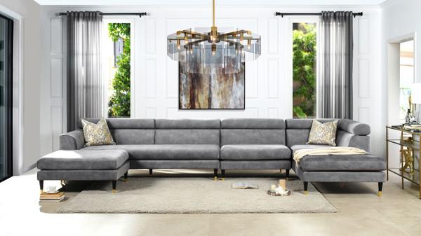 Bartelt RAF Modular Modern Sectional Chaise Sofa, Platinum Grey Performance Velvet