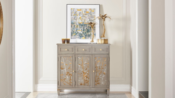 Dauphin Handpainted Entryway Storage Cabinet, Grey Cashmere
