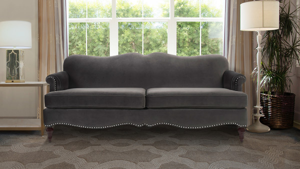 Legacy Camel Back Sofa, Dark Charcoal Grey