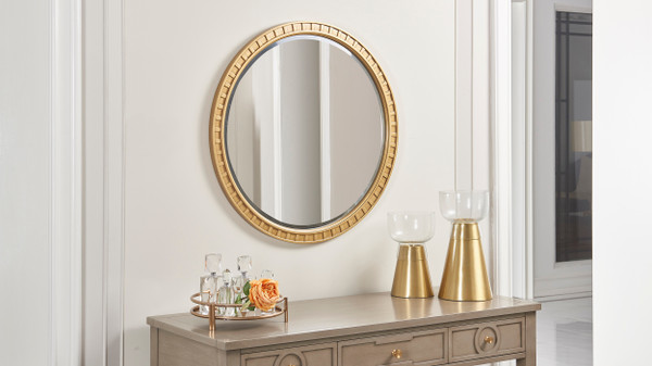 "Dauphin 31.5"" Round Gold Accent Wall Mirror, Golden Oak"