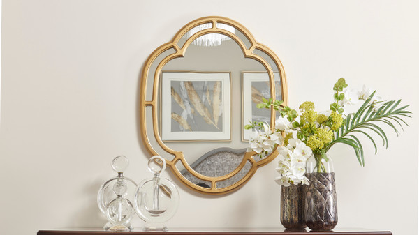 "Dauphin 33.5"" Scalloped Gold Accent Wall Mirror, Golden Oak"