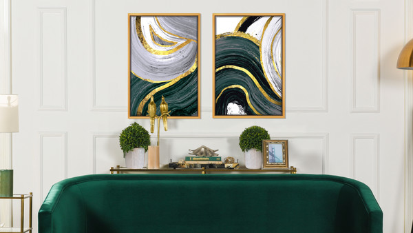"Abstract White Flow Acrylic Glass Art, Gold Frame Wall Art, 24"" x 36"", Gold Gray Green"