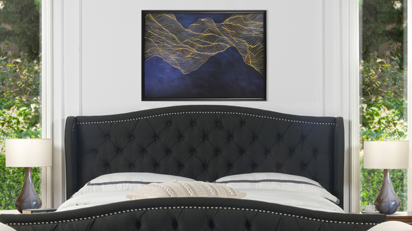 "Abstract Waves Solid Wood Frame Wall Art, 54""x 34"""