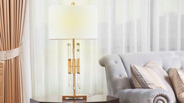 "15"" Caen Modern Fluted Crystal Accent Table Lamp"