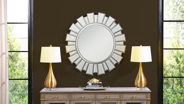 """Sola 40"""" Statement Sunburst Accent Wall Mirror, Silver"""