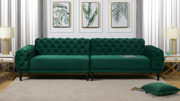 "Tappman 116"" Modular 4-Seater Tufted Velvet Sofa, Evergreen"