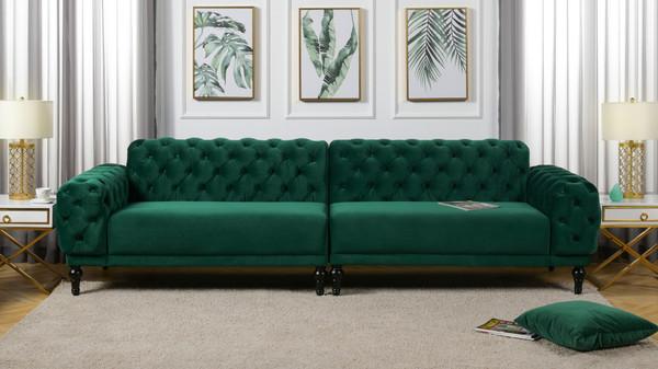 """Tappman 116"""" Modular 4-Seater Tufted Velvet Sofa, Evergreen"""