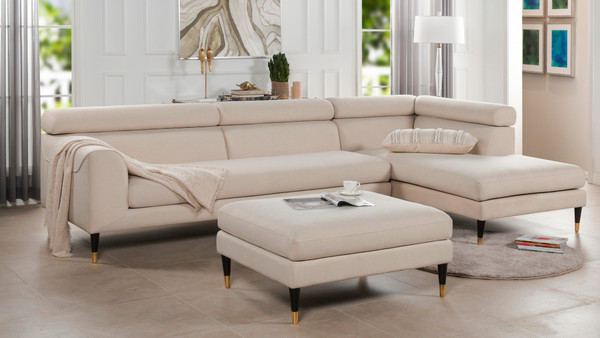 Hayes RAF Modular Sectional Chaise Sofa with Ottoman
