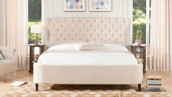 Robyn Tufted Curved Back Headboard Panel Bed, King, Sky Neutral