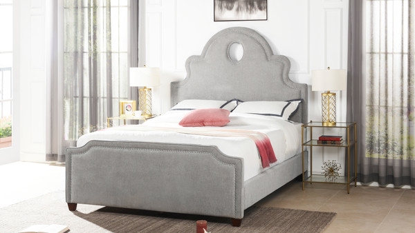 Flora Tall Keyhole Arch Panel Headboard Bed, Queen, Silver Grey