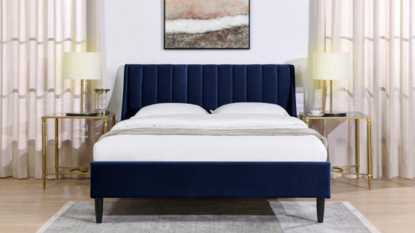 Aspen Upholstered Platform Bed, Queen, Navy Blue