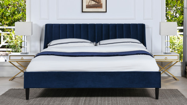 Aspen Upholstered Platform Bed, King, Navy Blue