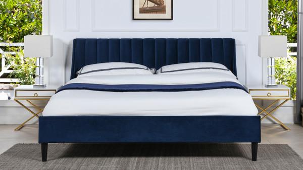 Aspen Upholstered Platform Bed, King, Navy Blue