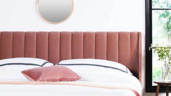 Aspen Upholstered Platform Bed, King, Ash Rose